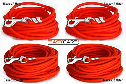 EasyCare Schleppleine 6 mm RUND, 5 Meter, Neon-Orange, ohne Handschlaufe (wasserfest & pflegeleicht durch PVC-Ummantelung)