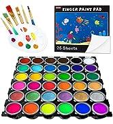 Washable Finger Paint, Shuttle Art 44 Pack Kids Paint Set with 36 Colors Toddler Paints(30ml, 1oz...