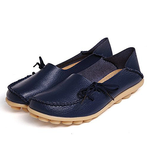 Fashion brand best show Women Flats Cut-Outs Comfortable Casual Shoes Round Toe Loafers Moccasins Wild Breathable Driving Shoes (8, DarkBlue2) by Fashion brand best show