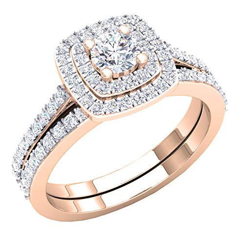 - Dazzlingrock Collection 1.50 Carat (ctw) 10K Round Cubic Zirconia Ladies Bridal Ring Set 1 1/2 CT, Rose Gold, Size 7