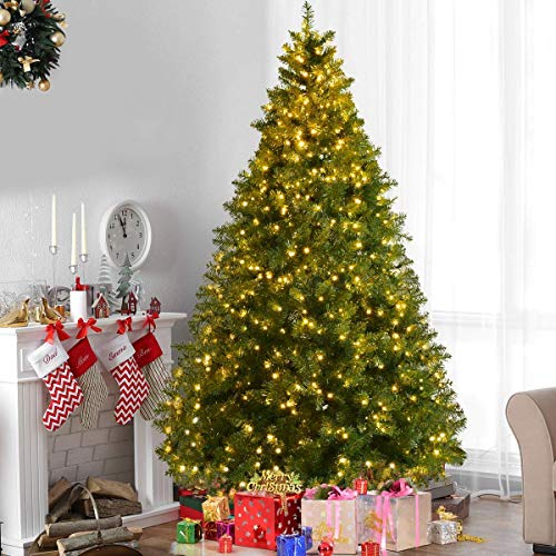 HAPPYGRILL 8FT Pre-lit Christmas Tree Hinged Artificial Home Holiday Décor, Metal Stand (8ft Christmas Pre Tree Lit)