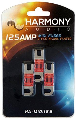 - Harmony Audio HA-MIDI125 Car Stereo Fuseholder 3 Pack 125 Amp MIDI Fuses - Nickel Plated