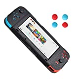 Nintendo Switch Protection Leather Case, HONGYE PU Leather Case with 4pcs Silicone Thumb Caps for Nintendo Switch (Black)