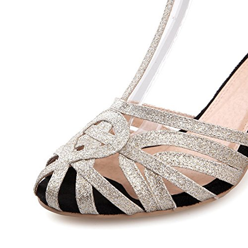VogueZone009 Color Round Women's Heels Assorted Closed Buckle Gold Toe Sandals Kitten RqarR6Txw