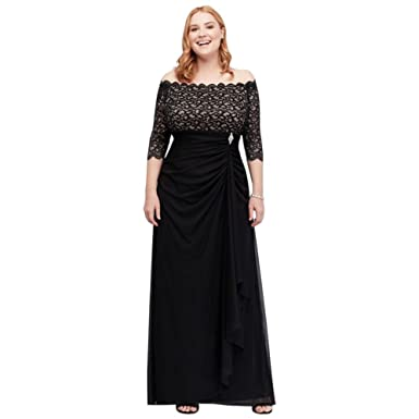 Off The Shoulder Plus Size Mother Of Bridegroom Dress With Cascade