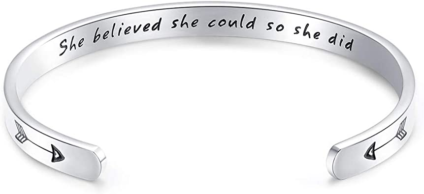 Silver Finish LET IT GO Statement Message Engraved Brass Simple Bangle Bracelet Fashion Jewelry for Women Man