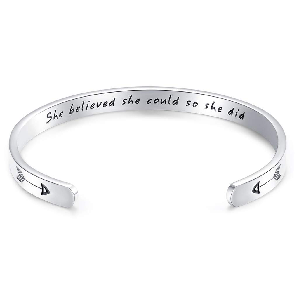 CERSLIMO Friendship Gifts Inspirational Bracelets,Stainless Steel Personalized Quote Bracelet Cuff Bangle Encouragement Graduation Gift for Women Teen (Silver) by CERSLIMO