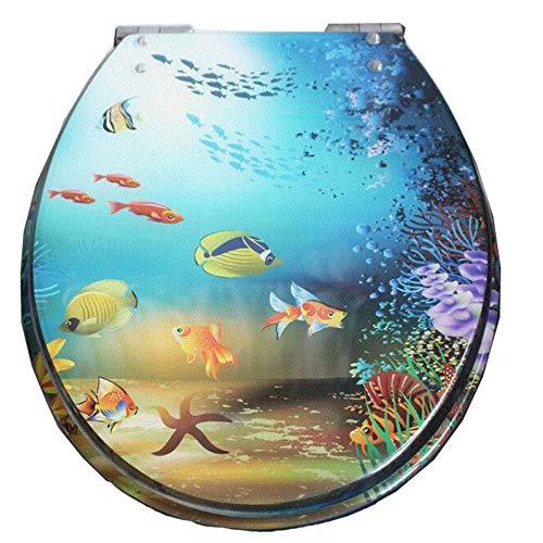 Resin Toilet Cover Thickening Universal Slow-Down Mute Stainless Steel Hinge Underwater World Painting Embedded,UnderwaterWorld