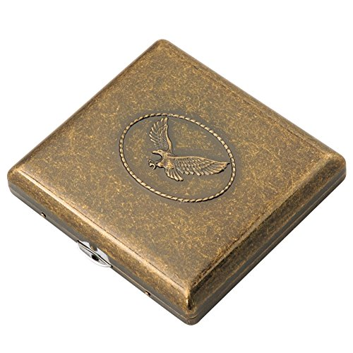 Cig-U Copper Cigarette Case/Box/Holder - Double Sided Flip Open Pocket Tobacco Storage Case - Hold 20 King Sized Cigarettes (Eagle) ()