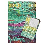 Roostery Geometric Tea Towels Morning Has Broken Mirror Repeat by Aftermyart Set of 2 Linen Cotton Tea Towels