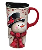 Cypress Home Snowman and Cardinal Ceramic Travel Mug with Gift Box, 17 ounces