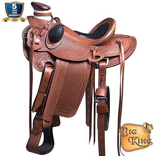 16'' HILASON Big King Western Wade Ranch Roping Cowboy Trail Saddle TAN