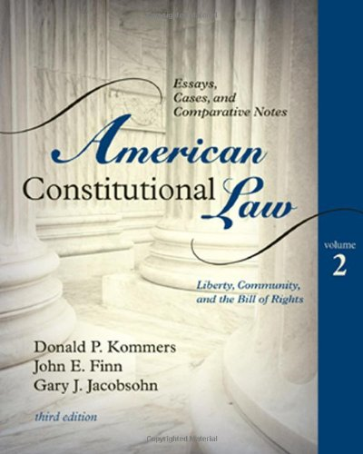 Book cover from American Constitutional Law: Essays, Cases, and Comparative Notes (Volume 2)by Donald P. Kommers