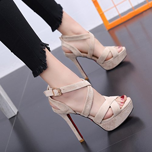 Word Color Platform Thin Toe Beige with Height 34 Buckle Female Open Cake Shoes 11cm Sandals with Heels high Size Black Shoes Loose xAnvATqw