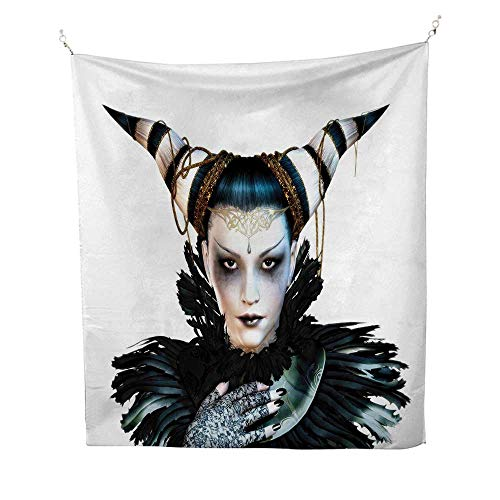 (Anshesix Fantasy Horizontal Tapestry Portrait of a Gothic Lady with a Carnival Costume Black Lipstick and Hair Horns Decorative Tapestry 40W x 60L INCHWhite)