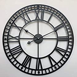 Large Metal Decorative Round Wall Clock 15 Inch 3D Hollow Out Wrought Iron Non-Ticking Silent Wall Clock with Roman Numeral for Office Living Room Bedroom Kitchen Black