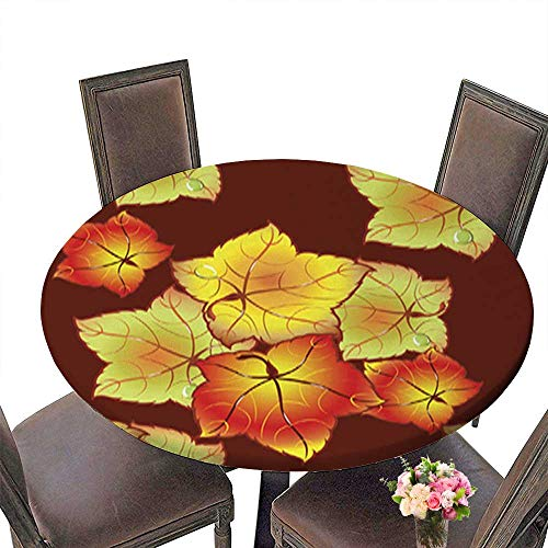 Polyesters Round Tablecloth,Autumn Leaves Invitation Wedding Birthday Baby Shower Party up to 67.5