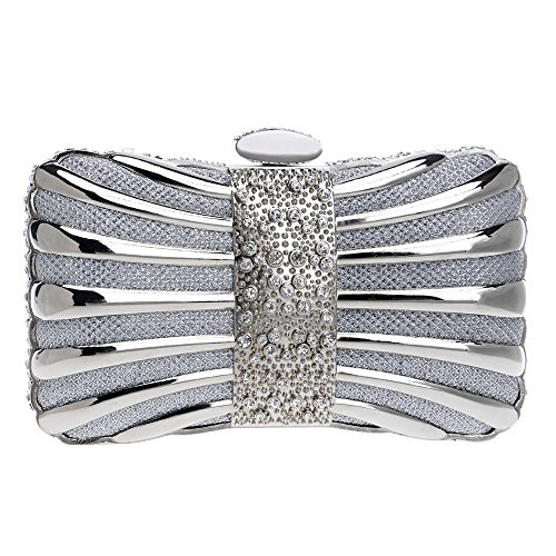 Ms Metal Banquet Evening Bow Evening Bag Silver Bag Clutch rIXprBx