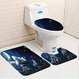 Keshia Dwete three-piece toilet seat pad customApartment Celestial Solar Night Scene Stars Moon and Clouds Heaven Place in Cosmos Theme Dark Blue White