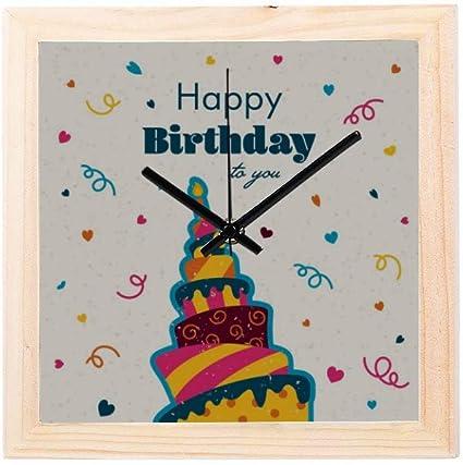Horloge Decoration Murale Joyeux Anniversaire Mignon Drole Carte Non Tic Tac Carre Silencieux En Bois Diamant Affichage Mur Horloges Peinture Cadran Cuisine Chambre Decor Petite Mur Decor Horloge Amazon Fr Cuisine Maison