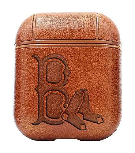 (MLB Boston Red Sox Logo 2 (Vintage Brown) Air Pods Protective Leather Case Cover - a New Class of Luxury to Your AirPods - Premium PU Leather and Handmade exquisitely by Master Craftsmen)