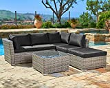 SUNCROWN Outdoor Patio Furniture Set (4-Piece Set) All-Weather Sectional Sofa Grey Checkered Wicker Patio with Black Washable Cushions & Glass Coffee Table | Patio, Backyard, Pool | Waterproof Cover
