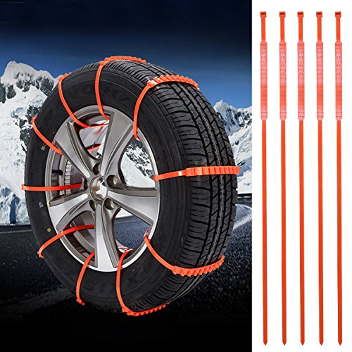 Tire Chains Set WINOMO 5Pcs Emergency Snow Tyre Chains Car Anti-skid Snow Chain for Sedan SUV Rv