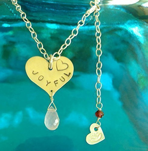 (GOOD VIBE Necklace, JOYFUL Heart Pendant in Sterling Silver with Rose Quartz Briolette, Meditation Jewelry, Yoga Inspired Jewelry, Gift for Her)