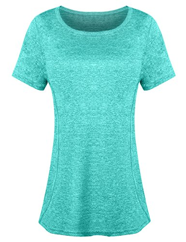 Aunis Women's Short Sleeve Yoga Workout Tops Activewear Clothes Running Quick Dry Sports T-Shirt for Women -GM