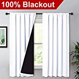 NICETOWN White 100% Blackout Lined Curtains, 2 Thick Layers Completely Blackout Rod Pocket Thermal Insulated Drapes for Kitchen/Bedroom (1 Pair, 52' Width x 63' Length Each Panel)