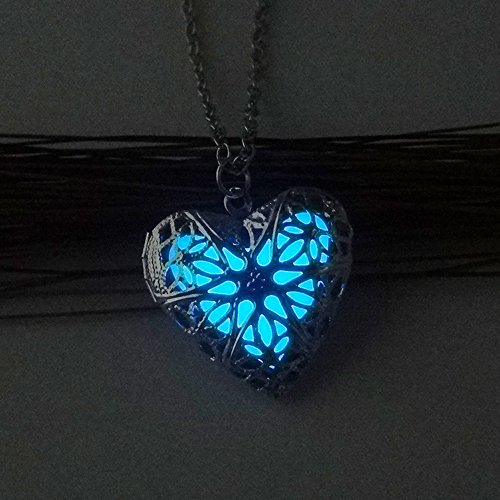 Noctilucent Necklace, Steampunk Fairy Magical Heart Noctilucent Pendant Necklace,Glow in the Dark Necklace Birthday Gift for Girlfriend Wife (Blue) (Victorian Crystal Blue)