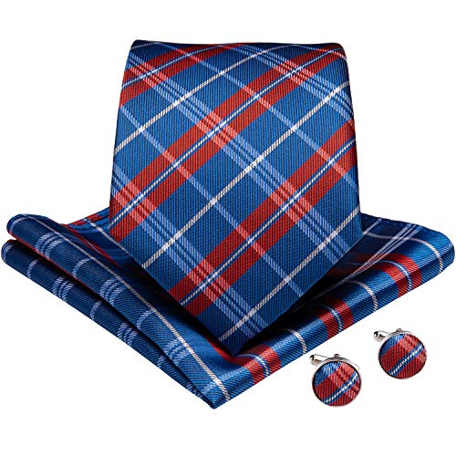 (DiBanGu Large Tie for Men Silk Tie and Pocket Square Cufflink Set Plaid Neckties (Red and Blue))