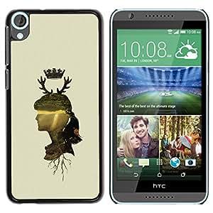 QCASE / HTC Desire 820 / Perfil de la mujer cuernos naturaleza retrato corona ciervos / Delgado Negro Plástico caso cubierta Shell Armor Funda Case Cover