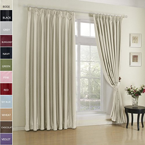 (Cottontree Homesoft Blackout Curtain For Bedroom- Pinch Pleat Window Treatment Thermal Insulated Drapes For Traverse Rod and Track,84 Inch Wide By 96 Inch Long,Beige(One Panel))