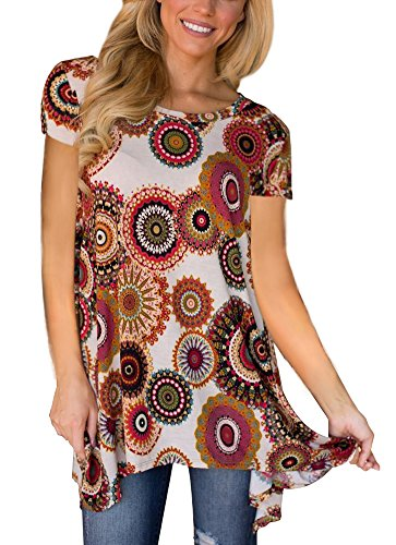 Webury Women Casual Tops Swing Tunic Short Sleeve Long T Shirt with Floral Printed Red/Taupe XL (Taupe Clothing)