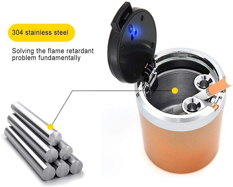 Multifunktionaler Edelstahl Metall Sturmaschenbecher mit Deckel und LED Licht Rubyu Auto Aschenbecher KFZ Rauchende Zigarette Auto-Aschenbecher