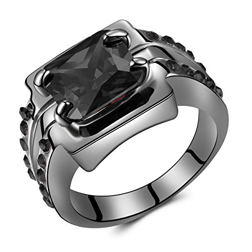 Jewelry Temperament Womens Black Big Square Diamond Black Gold Rings for Women (Engament Ring Diamond)