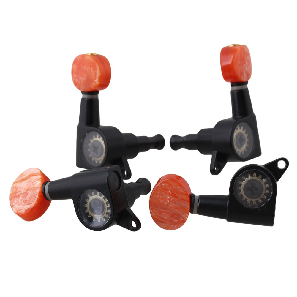 Yibuy 2L2R Zinc Alloy Tuning Pegs with Red Tip for Ukulele 4 String Guitar Set of 4 etfshop YB0947