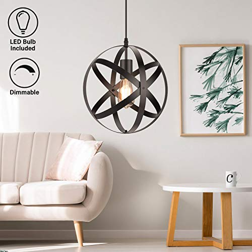 Industrial Metal Pendant Light, Dimmable ST58 Edison E26 LED Bulb Included, Vintage Spherical Lighting, Black Hanging Cage Globe Ceiling Chandelier Fixture for Kitchen Island Living Room Dining Room
