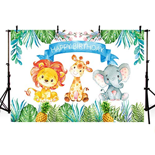 MEHOFOTO Safari Photo Background Cartoon Animals Lion Giraffe Elephant Pineapple Leaves Children Birthday Party Decoration Backdrops Banner for Photography 7ftx5ft ()