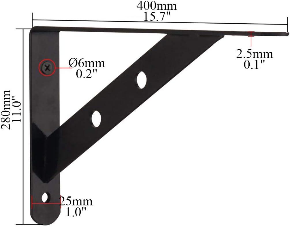 2 Supports De Tablette Supports en L avec Fixation /à Vis Solide en Acier Inoxydable shcc Support /Équerre Supports /à Tablette Muraux Charge Maximale De 310 LB