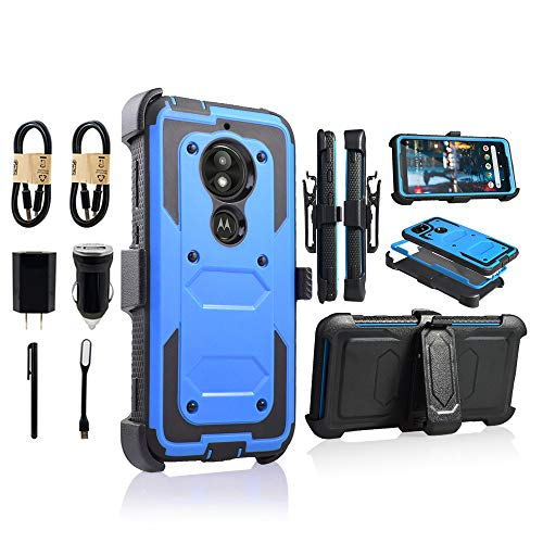 Moto E5 Play Case, Motorola E5 Cruise Holster Clip, Shockproof Heavy Duty Built-in Screen Protector w/Belt Clip Kickstand for Moto E5 Play [Value Bundle] (Blue) (Moto 4g Best Price)