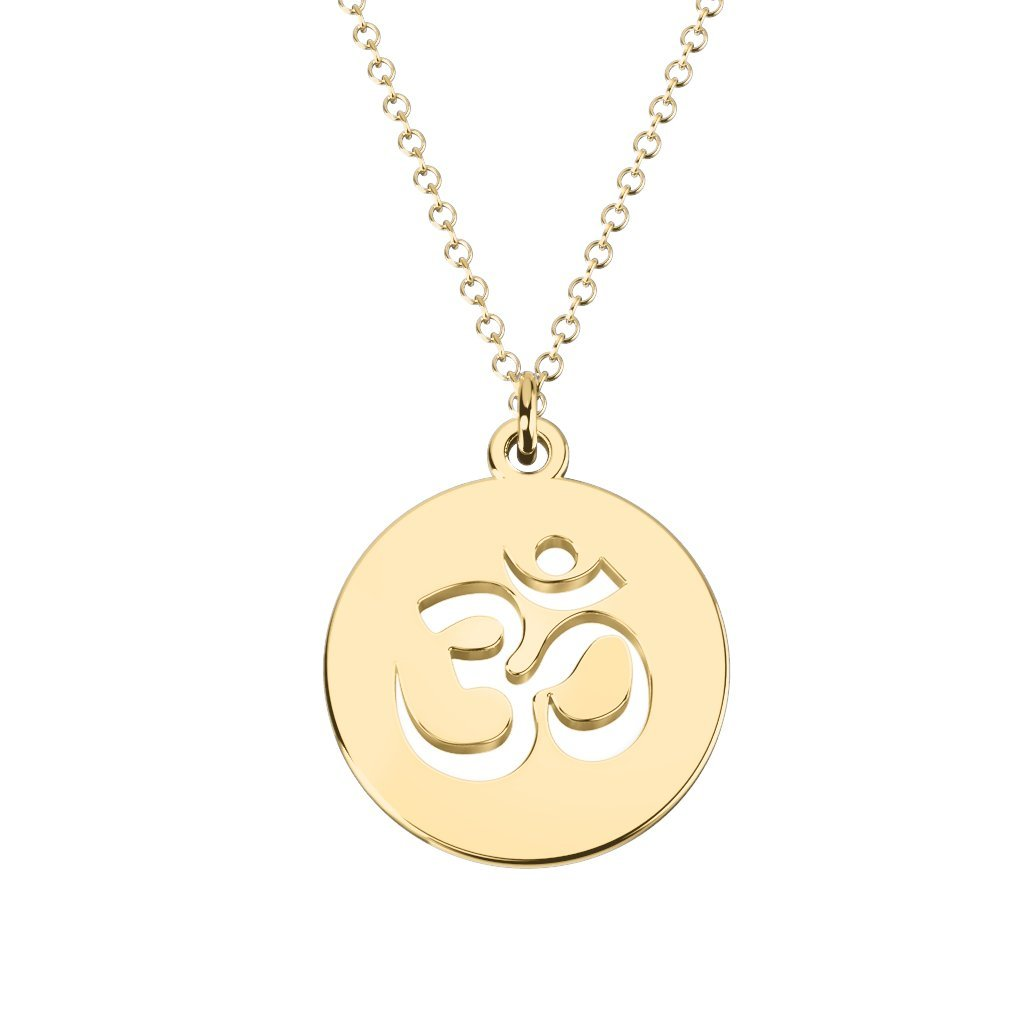 10K Gold Om Symbol Cutout Disc Necklace by JEWLR