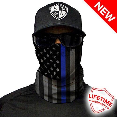 SA Fishing Salt Armour Face Shield | Blackout Thin Blue Line American Flag