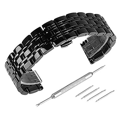Beauty7 Black 22mm Polished Stainless Steel Solid Link Watch Band Kit Bracelet Strap Replacement Butterfly Buckle (Pebble Steel Black Watchband)