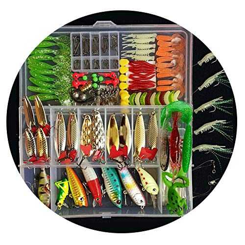 Goodforyou21 Hot New Multi Fishing Lure Mixed Colors Plastic Metal Bait Soft Lure Kit Fishing Tackle Wobbler Spoon Pesca Peche Artificias,Kit E ()