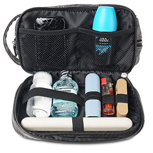 712c162f97bf LVLY Dopp Kit Leather Toiletry Bag for Men - Travel Bags for Shaving  Grooming and Bathroom