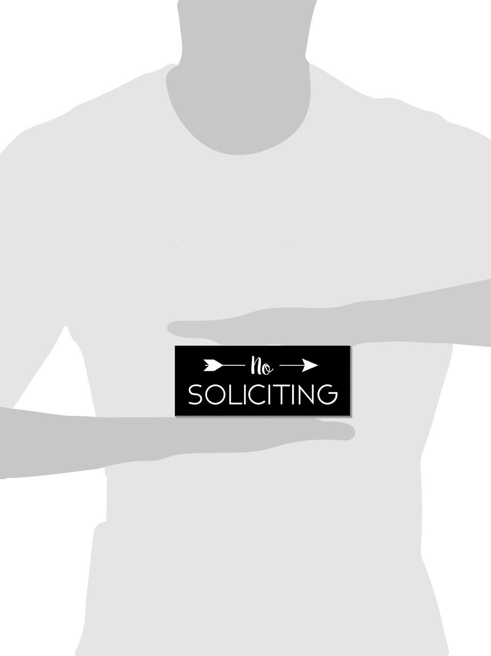 No Soliciting Sign for Home or Business | Laser Engraved on stylish material (Medium, Black/White) by Access48 signs (Image #1)