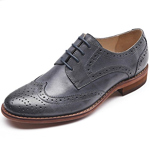 3313365605 Odema Women's Leather Oxfords Perforated Lace-up Wingtip Low Heel Carving Brogue  Dress Shoes Oxfords