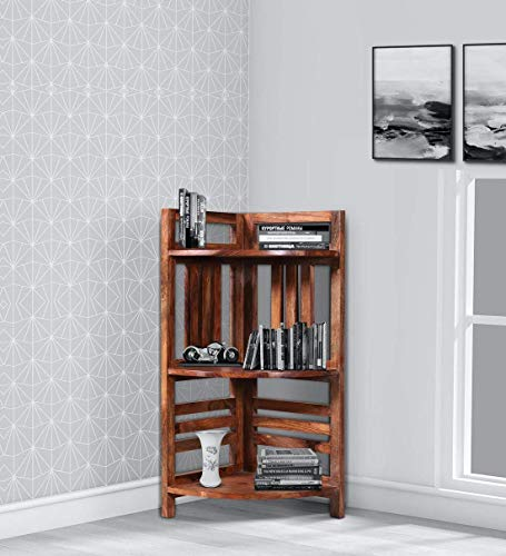 Choyal Solid Wood Corner Book Shelves for Living Room | Open Bookcases with 3 Shelf Storage | Sheesham Wood, Natural Honey